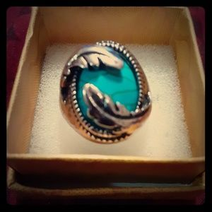 Women's Blue Stone Antique Silver Leaf Ring